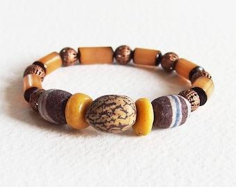 Bracelet mixte perles artisanales en Verre et Métal cuivré - Graines d'Automne - Bijou créateur, fait-main, pièce unique