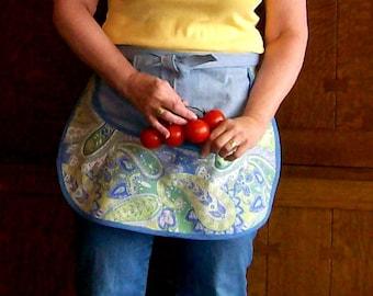 Jean Girl Gathering Pouch Apron - Gathering Apron - Denim and Duck Gathering Apron - Size L