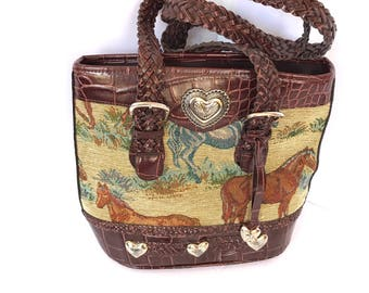 80's Equestrian Large Tapestry Leather Satchel, Tapestry Brown Leather Silver Accents Satchel, Woven Leather Straps Satchel 80's Large
