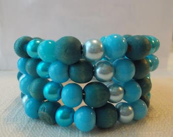 4 Row Memory Wire Cuff Bracelet with Turquoise, Blue Glass Beads,  and Turquoise and Blue Sea Shell Pearls
