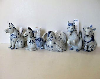 5 Franklin Mint Country Friends animal Creamer Pitchers, Hallie Greer, Delph style porcelain, Rooster, donkey, horse, pig, cow, blue white