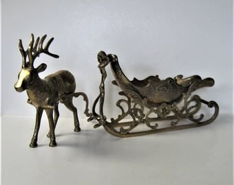 """XLarge Vintage Brass Reindeer and Sleigh, 21"""" long, Shabby Christmas Decor, candy dish, mantle decor, Holiday Decoration, gift idea"""