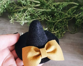 Baby / Girls Witch Hat Headband or Hair Clip, Baby Witch Hat Headband, Girls Witch Hat Hair Clip, Baby Halloween Witch Hat by charliecocos