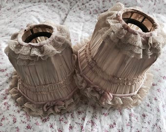 The most beautiful ever tattered cream silk boudoir lamp shade pair lace pink ribbon bow chandelier shabby french nordic chic ashwell