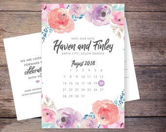 Floral Save the Date, Flowers, Purple, Lilac, Watercolor Flower, Save-the-Date Card, Postcard, DIY, Printable Digital File – Haven