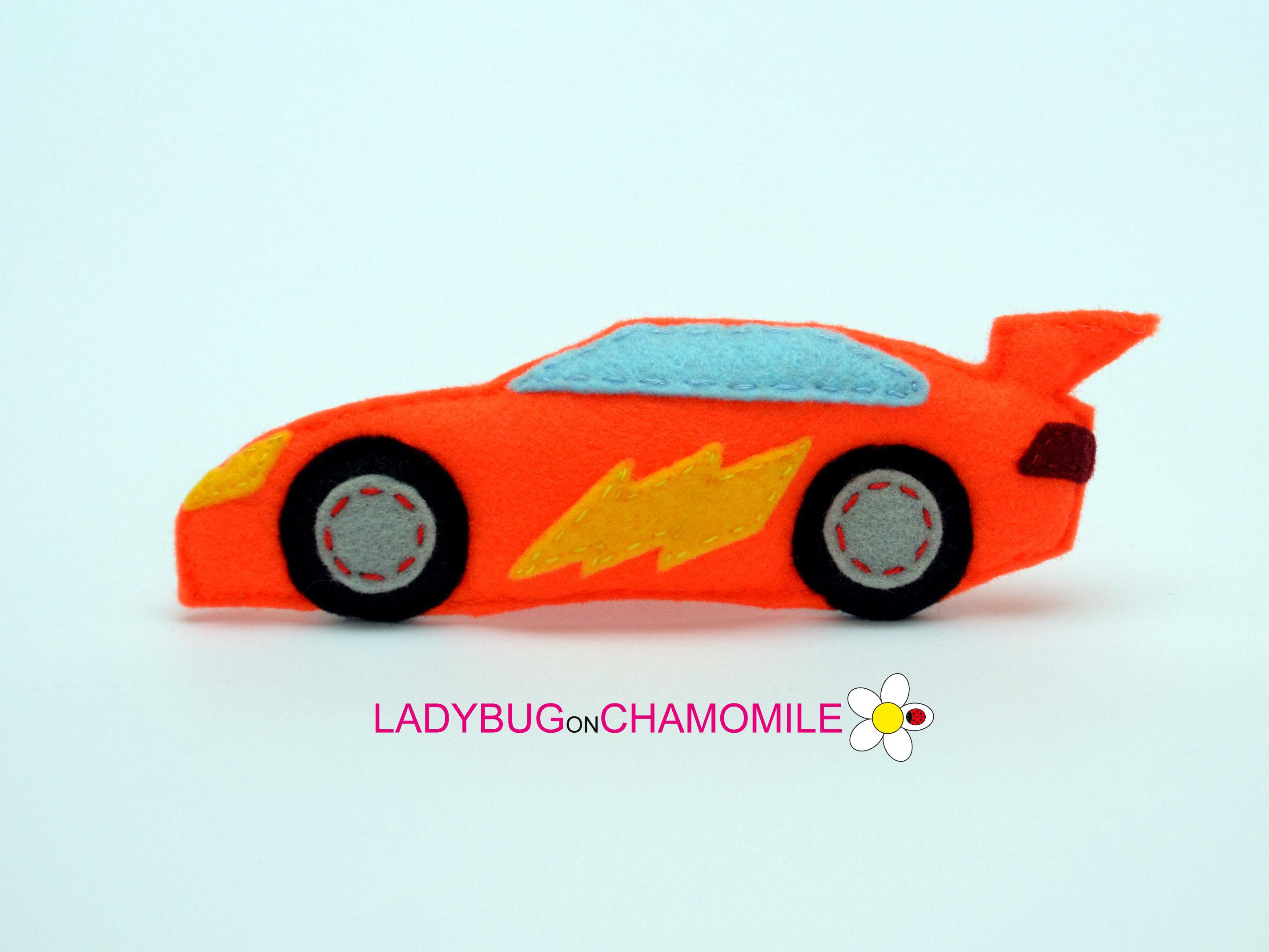 Felt RACE CAR Stuffed Felt Race Car Magnet Or Ornament - Custom sport car magnets