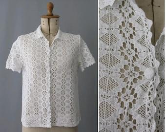 1960s white cotton Lace Top / vintage lace blouse