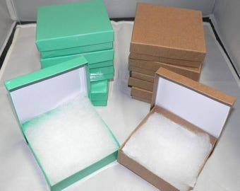 On Sale 20 Teal and  Kraft  Cotton Filled Jewelry Presentation Retail Display Cotton Filled Gift Boxes, 3.5x3.5