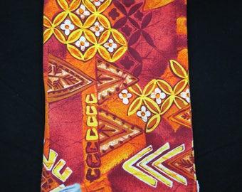 Vintage Hawaiian Barkcloth - Retro Hawaiian Fabric - Orange Yellow Brown Hawaiian Print - Tiki Print Fabric - Free Shipping - 6PTT17