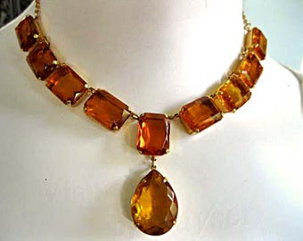 Topaz Golden Amber Glass Choker, Rectangle Faceted Glass Prongset Links, Center Pear Stone Drop