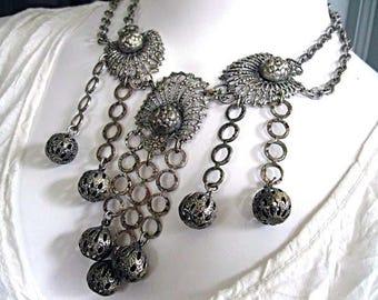 Filigree Silver Medallion Bib Necklace Earrings, Moroccan Bazaar Gypsy Belly Dancer Drape Collar, Chain Swags Fringe, Peacock Fan Feathers