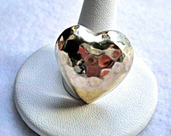 Sterling Heart Silver Ring, Hand Hammered Large Puffed Heart, Mexico Silver 925, 12 Grams, Size 7.5