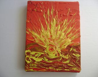 Sky Fire - Original Acrylic Painting Canvas - 6 x 8