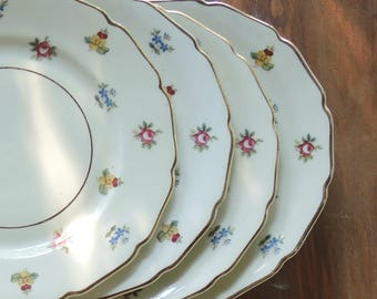 Antique Rosenthal Continental Ivory Rob Roy Selb Bavaria China Bread & Butter Plates Set of 4 Romantic Cottage Style, Ca. 1940's