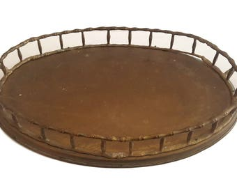 Vintage Brass Vanity Tray / Bamboo Handles & Rail / Oval