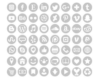 Gray Social Media Icons Set | Transparent Round Circle Avatar Flat Color Buttons Blog Website | Digital Icons | Personal or Commercial Use