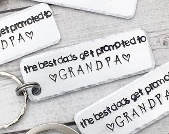 Grandpa Christmas Gift - The Best Dads Get Promoted to Grandpa - Dad Christmas Gift - Gift for New Grandfather - Grandpa Keychain