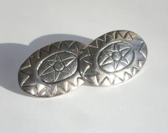 Vintage Silver Oval Earrings - Pierced - Retro Classic Jewelry 1980s