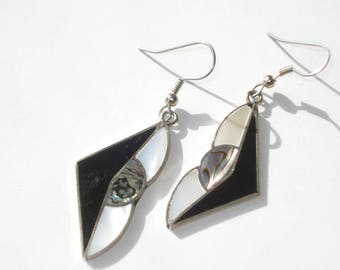 Vintage Alpaca Earrings White and Black Enamel and Mother of Pearl - Pierced Dangle - Alpaca Silver 1980s