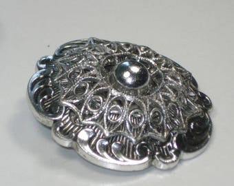Vintage Clip On Silver Circle Scarf Brooch -Pinless Pin - Costume Jewelry Brooch 1960s - West Germany