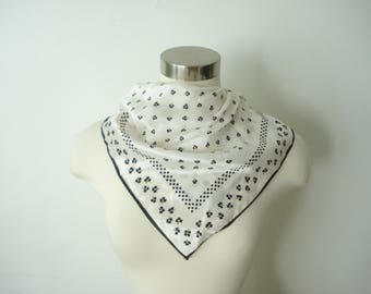 Square Shamrock Clover Pattern Scarf - Black and White - Womens Fall Accessories