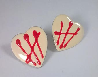 Vintage Earrings Love Hearts  - Enamel Valentine's Day Fashion Jewelry 1980s