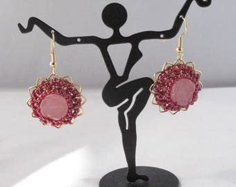 Pink Candy Jade Rose Earrings on Fishhook Earwires