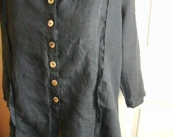 Vintage Woman's Blouse, Black Linen Fabric, Size Medium, Summer Blouse, Adjustable Fit, MOP Buttons