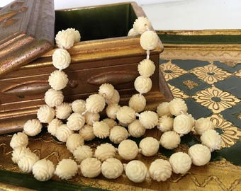 Chinese Carved Bone Rose Beads, Vintage Beaded Necklace Long Ox Bone