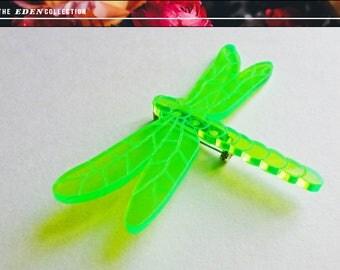 Glowing Acrylic Dragonfly Brooch