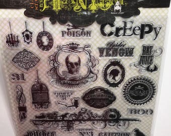 24 piece Halloween clear stamp set, 15 - 160 mm