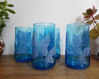 Vintage Leaf Pattern Blue Tall Tumbler Glasses Set of 4