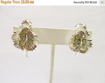 ON SALE Vintage Rhinestone Leaf Earrings Item K # 3015
