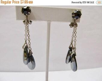ON SALE Vintage Smokey Glass Dangle Earrings Item K # 647