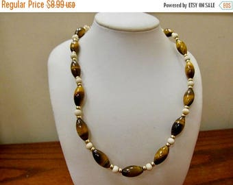 ON SALE Vintage Tiger Eye Beaded Necklace Item K # 726