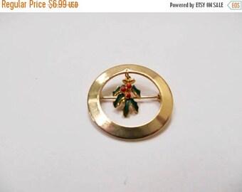 ON SALE Vintage Enameled Dangling Christmas Mistletoe Pin Item K # 3017