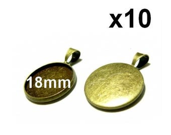 10 supports pendant bronze mod07 18mm cabochon