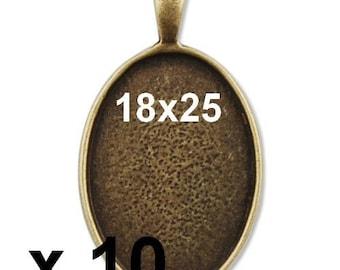 10 blank pendant bronze cabobochon 18x25mm x 10