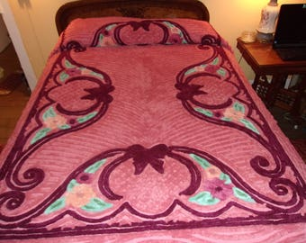 Vintage Mauve Dusty Rose Chenille Bedspread 92 X 101 New Old Stock SALE
