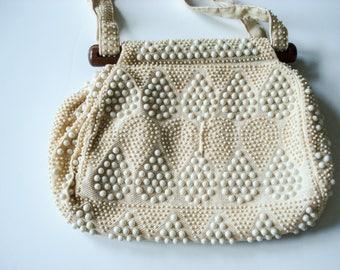 Beaded summer handbag with wood frame