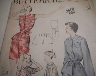 Vintage 1940's Butterick 4943 Lounging or Sleeping Pajamas Sewing Pattern Size 16 Bust 34