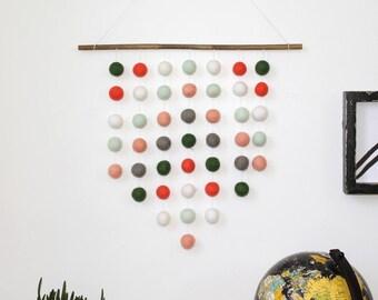 Felt Ball Hanging Mobile, Coral Peach and Mint, Modern Wall Decor, Pom Pom wall Hangins, Nursery Decor, Gender Neutral, Custom Wall Hanging
