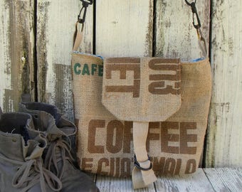 Recycled Coffee Bag Messenger Purse. Crossbody Bag. Cross body coffee purse.Dorm Bag.Book Bag. Favorite recycled purse