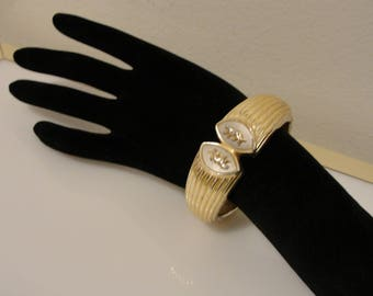 big hinged bangle bracelet with two panthers used condition