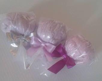96 light purple ice cream cone with light purple ribbon labels and crosses 8-1