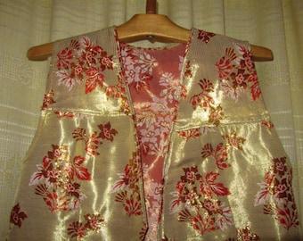 Vintage Uzbek Women's Long Sleeveless Vest Jacket Shiny Golden