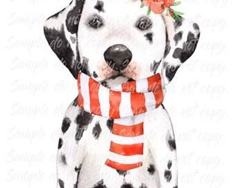 Dalmation Christmas Puppy Heat Press Transfer DIY Iron on Transfer