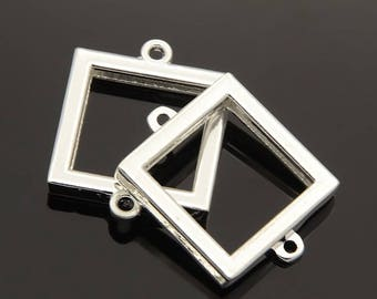 2pc 30x26mm Silver Finish Square Photo Frames  Locket Pendants-bb56