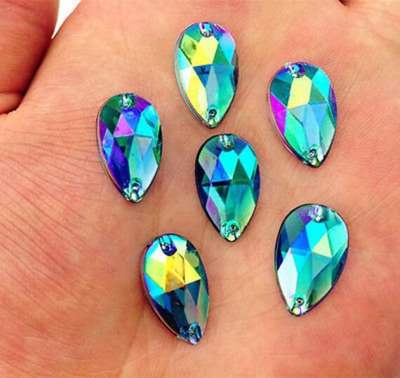 50pcs Midnight Blue AB 18mm*11mm Flat Back Tear Drop Sew On Acrylic Rhinestones Embellishment Gems C09