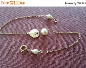 ON-SALE Gold-Fill Sand Dollar and Pearl Bracelet, Bridesmaids Gifts, Flower Girl, Jr. Bridesmaids